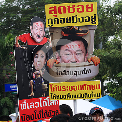 Thai protesters raise anti amnesty bill plates Editorial Photography