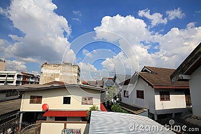 Thai resident houses  community against blue sky