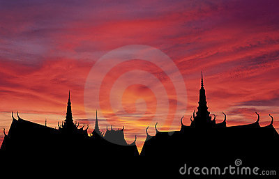 Thai roofs sunset