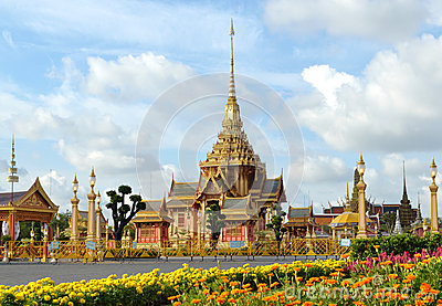 Thai royal funeral and Temple in bangkok Thailand