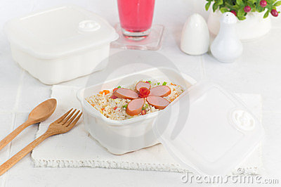 Thai sausages fried rice in lunch box