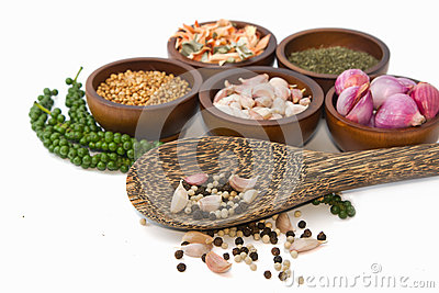 Thai seasoning ,dried herbs and spices Stock Photo