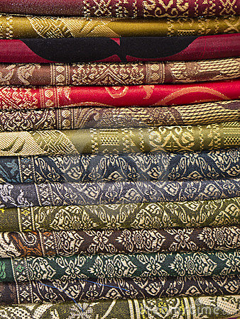 Thai silk fabric folded and stacked
