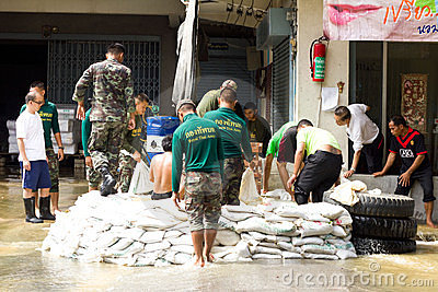 Thai soldiers are helping people Editorial Stock Photo