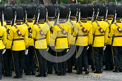 Thai soldiers in parade uniforms