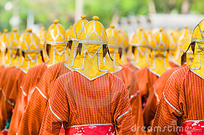 Thai soldiers in traditional uniforms