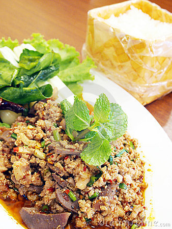 Free Thai Spicy Minced Meat Salad Royalty Free Stock Photography - 23749207
