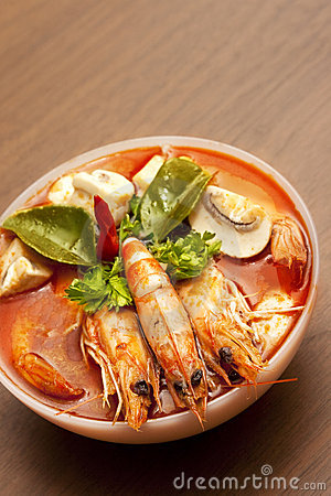Free Thai Spicy Prawn Soup (Tom Yum) Royalty Free Stock Photography - 12091947