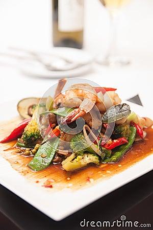 Free Thai Stir Fried Seafood With Tom Yum Sauce. Royalty Free Stock Photos - 33220868