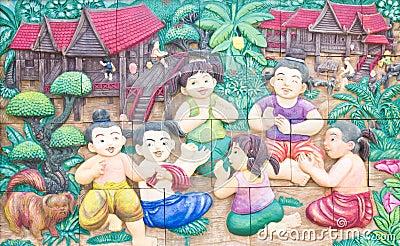 Thai stucco on temple wall.