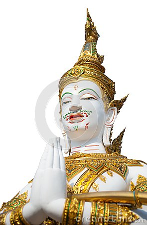 Thai style angel statue on white background