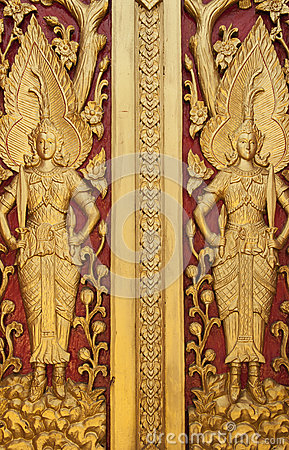 Thai style golden Deva carving
