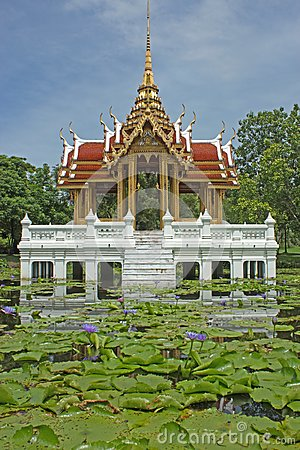 Thai-style pavilion, water.