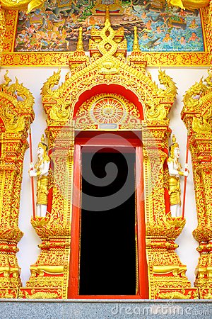 Thai style temple door
