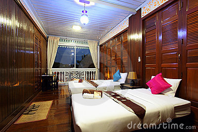 Thai style tropical hotel bedroom Editorial Stock Photo