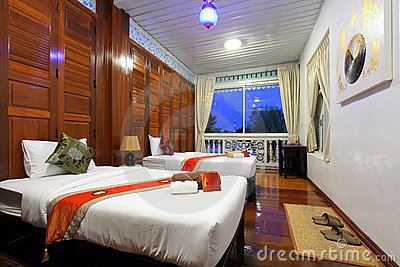 Thai style tropical hotel bedroom Editorial Photography