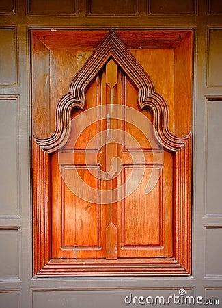 Thai  style  wooden temple window