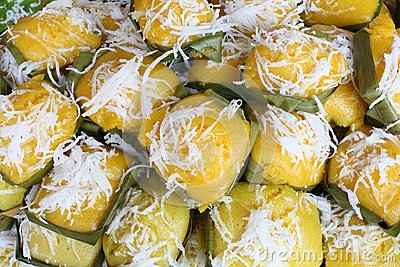 Thai sweet sugar palm cake with Coconut