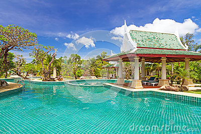 Thai swimming pool scenery