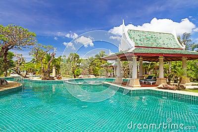 Thai swimming pool scenery