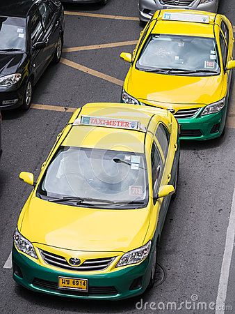 Thai taxi cab on the road Editorial Stock Image