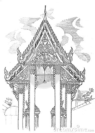 Thai temple elevation drawing