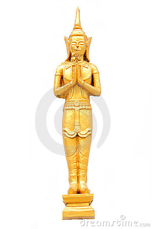Thai Temple God in Gold isolated