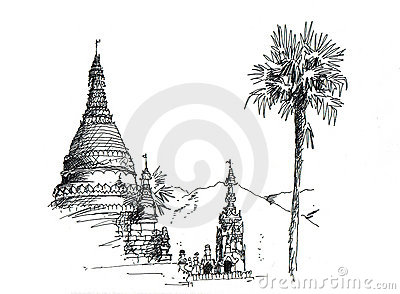 Thai temple sketching