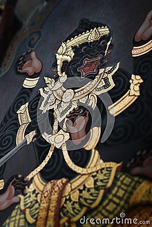 Thai temple wall art