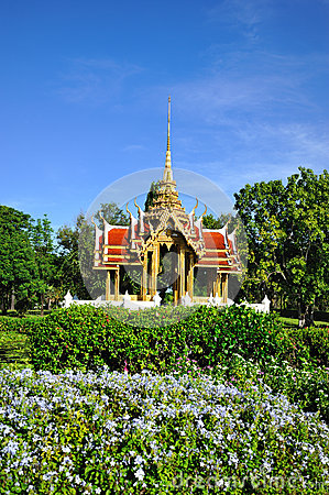 Thai temple on the water at Rama 9 Garden Stock Photo