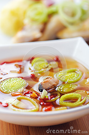 Thai Tom Yum soup with seafood