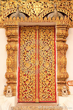 Free Thai Tradition Style Buddhist Church Door Royalty Free Stock Photo - 8936875