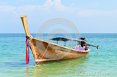 Thai Traditional longtail boat in the sea