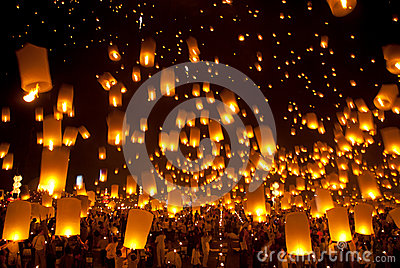 Thai traditional Newyear balloon lantern . Editorial Stock Image