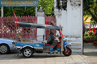 Thai tuk tuk taxi in Bangkok, Thailand. Editorial Photo