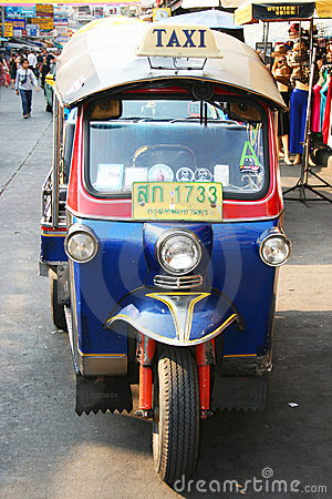 Thai Tuk Tuk taxi on Khaosarn road, Bangkok. Editorial Stock Image