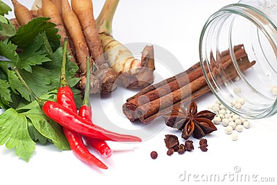 Thai vegetables & herbs on white background