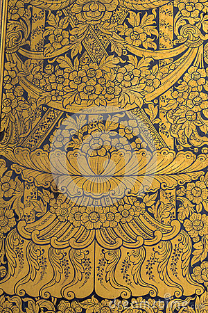 Free Thai Wall Art Pattern Royalty Free Stock Photo - 46999945