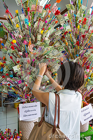 Thai woman donating in the donation tree in Visakh
