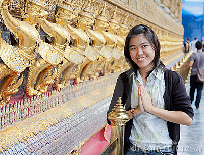 Thai woman in temple
