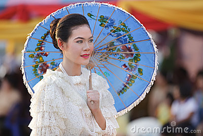 Thai woman traditional clothes Editorial Stock Photo