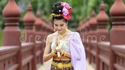 Thai Woman In Traditional Costume Of Thailand. Cute Thai Woman In Traditional Costume Of Thailand