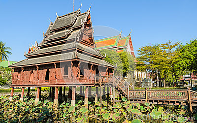 Thai wooden temple Editorial Stock Photo