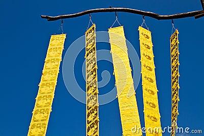 Thai yellow craft under the blue sky