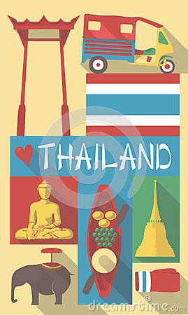 Thailand symbols on a poster or postcard