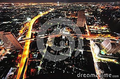 Thailand Bangkok  night city sky view