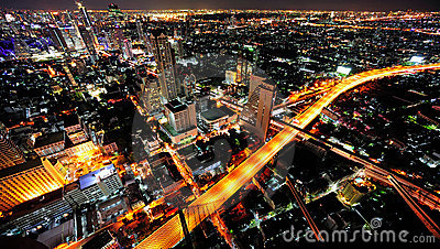 Thailand Bangkok night  city sky view