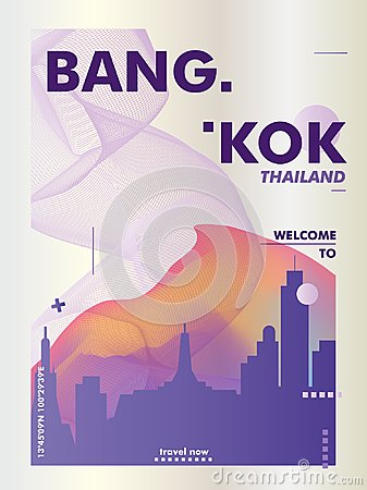Free Thailand Bangkok Skyline City Gradient Vector Poster Royalty Free Stock Image - 121459336