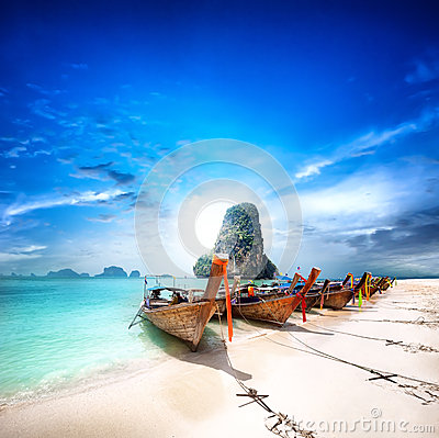 Free Thailand Beach On Tropical Island. Beautiful Travel Background Royalty Free Stock Photography - 32461687