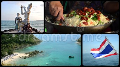 Thailand collage. Thailand montage, art, culture, nature and wonderful sea stock video